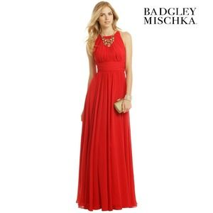 Badgley Mischka Ruby Red Gala Gown 4 Sleeveless